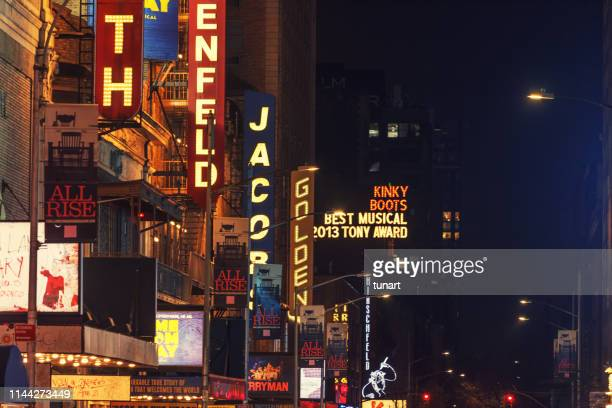 broadway theaters in 45th street, manhattan, new york city, usa - broadway stock pictures, royalty-free photos & images