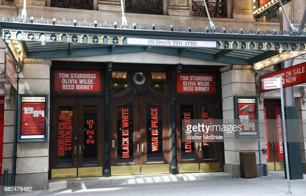 Broadway Theatre Marquee Unveiling for the new stage adaptation of George Orwell's '1984' starring Tom Sturbridge Olivia Wilde and Reed Birney at the...