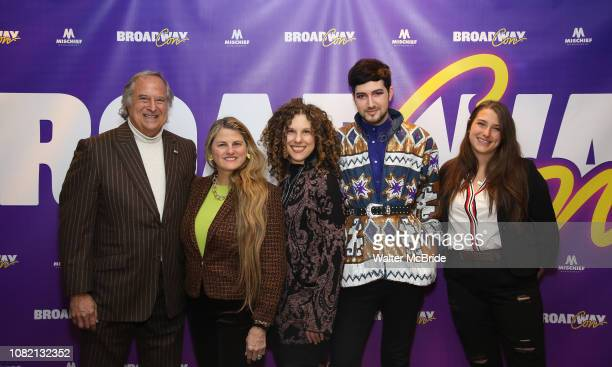 """BroadwayHD founders Stewart F. Lane and Bonnie Comley with Ellie Heyman, Max Vernon and Leah Lane attend a reception for """"An Artist's Perspective of..."""