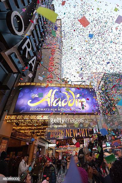Broadway's Aladdin hosts as Times Square prepares for 2015 with a confetti test at the New Amsterdam Theatre on December 29 2014 in New York City