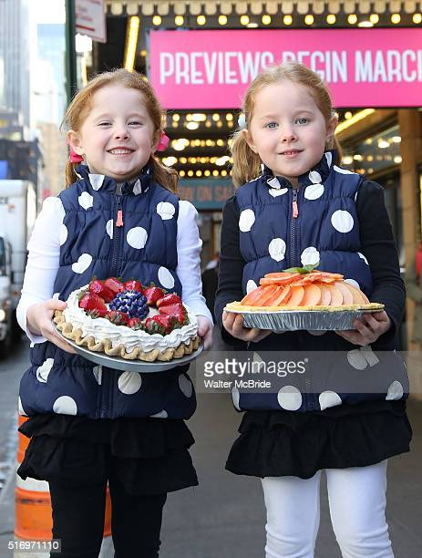 Broadway's Waitress welcomes twin five year olds Claire Keane and McKenna Keane to the production at the Brooks Atkinson Theatre on March 22 2016 in...