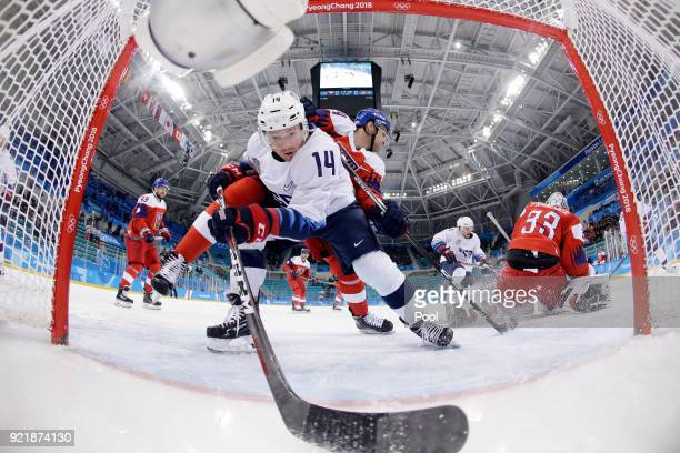 Broc Little of the United States collides with Tomas Kundratek of the Czech Republic during the Men's Playoffs Quarterfinals on day twelve of the...