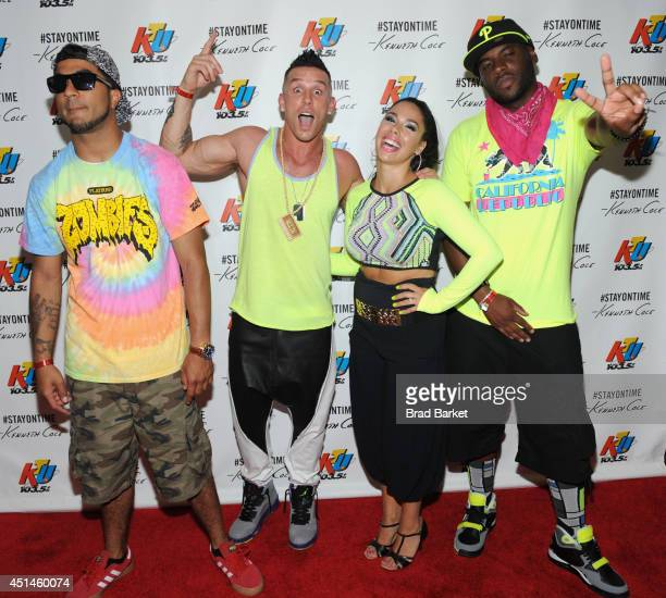 Roc Mikey P Michael Cartel Kristyn of DaCav are seen backstage during 1035 KTU's KTUphoria 2014 presented by Burlington at IZOD Center on June 29...