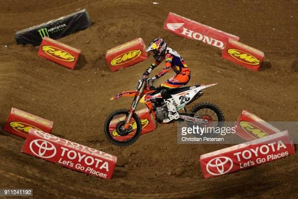 Broc Tickle competes in 450SX main event of the Monster Energy AMA Supercross at the University of Phoenix Stadium on January 27 2018 in Glendale...