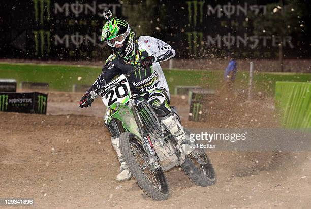 Broc Tickle rider of the Monster Energy/Pro Circuit Kawasaki 450 races during Main Event 2 of the inaugural Monster Energy Cup on October 15 2011 in...
