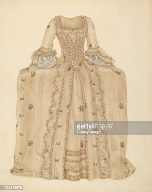 Brocaded Silk Dress, circa 1939. Artist Gertrude Lemberg.