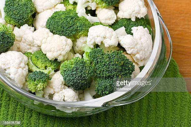 Broccoli and Cauliflower in Glass Bowl