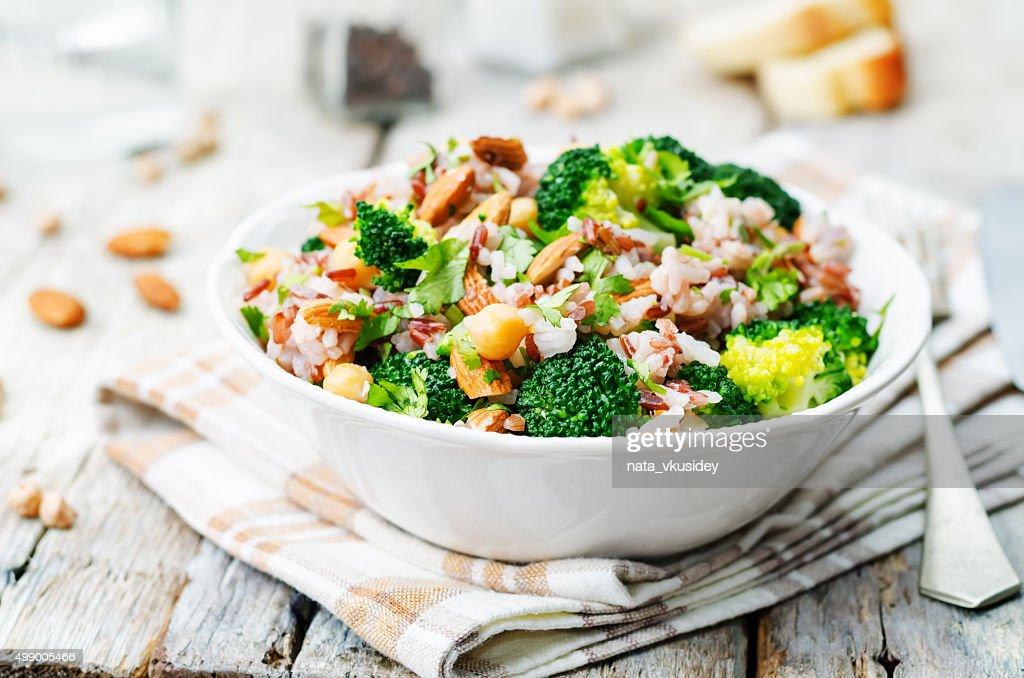 broccoli chickpea cilantro almond white and red rice : Stock Photo