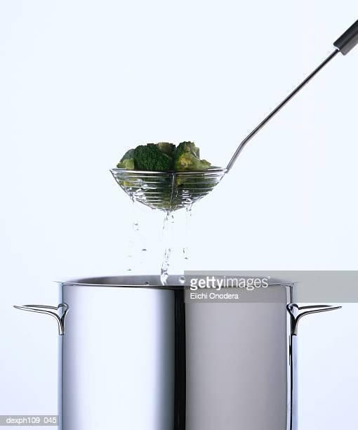 Broccoli in colander, draining water