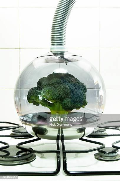 Broccoli in glass bowl