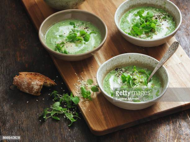 Broccoli, kale, spinach and mint soup with tahini