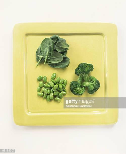 """Broccoli , spinach and lima beans"""