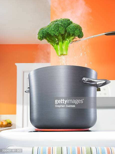 Broccoli suspended over pot of boiling water on stove