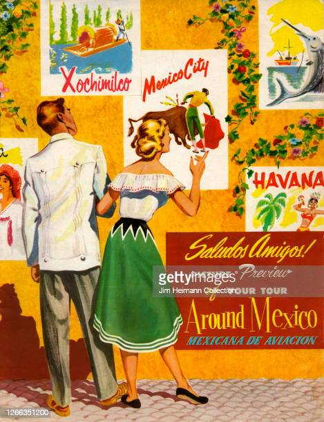 Brochure for Mexicana de Aviacion shows a stylish American couple looking at travel posters on a wall, circa 1946.