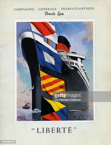 A brochure for the French Line reads 'Compagnie Generale Transatlantic French Line Liberte' from 1950 in France