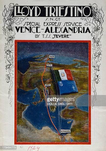 Brochure for the Venice to Alexandria cruise on board the Lloyd company ship the Tevere Italy 20th century Trieste Galleria Storica Del Lloyd...