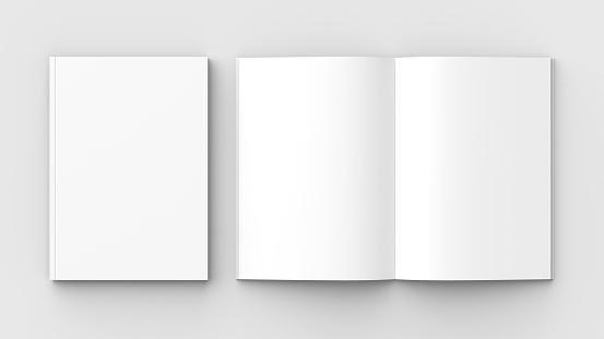 Brochure, magazine, book or catalog mock up isolated on soft gray background. 3D illustrating. 911310900