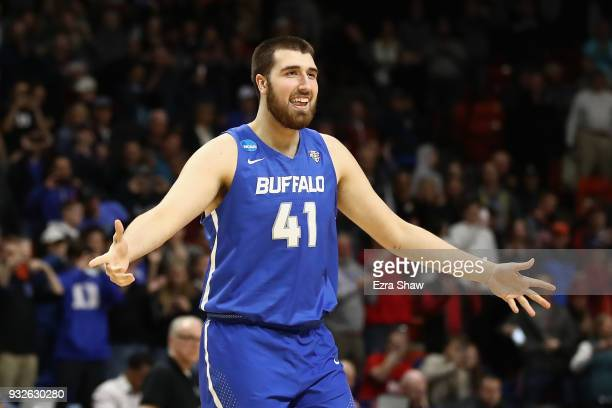 Brock Bertram of the Buffalo Bulls reacts in the second half against the Arizona Wildcats during the first round of the 2018 NCAA Men's Basketball...