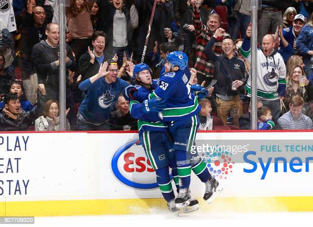 Brock Boeser of the Vancouver Canucks and Bo Horvat celebrate Boeser's goal during their NHL game against the Tampa Bay Lightning at Rogers Arena...