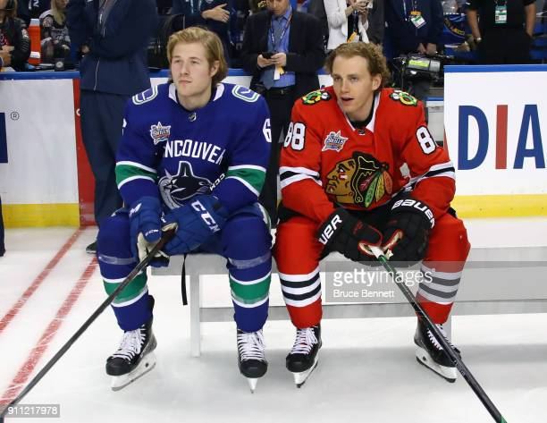 Brock Boeser of the Vancouver Canucks and Patrick Kane of the Chicago Blackhawks take part in the 2018 GEICO NHL AllStar Skills Competition at Amalie...