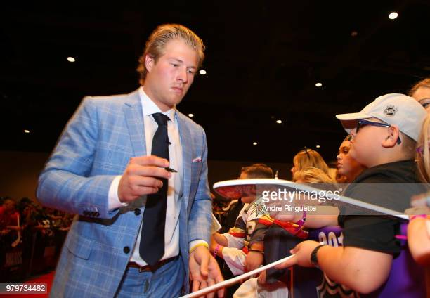 Brock Boeser of the Vancouver Canucks arrives at the 2018 NHL Awards presented by Hulu at the Hard Rock Hotel Casino on June 20 2018 in Las Vegas...