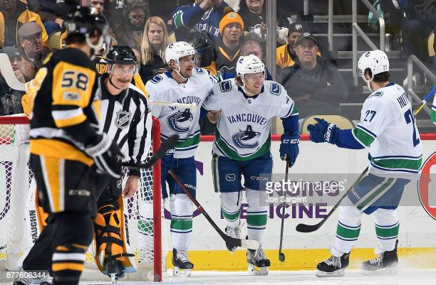 Brock Boeser of the Vancouver Canucks celebrates his first period goal against the Pittsburgh Penguins at PPG Paints Arena on November 22 2017 in...
