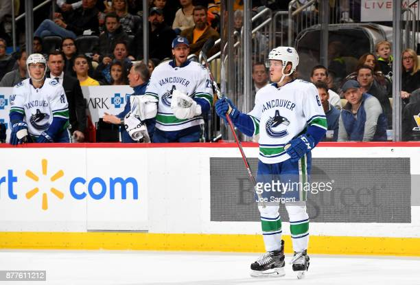 Brock Boeser of the Vancouver Canucks celebrates his second period goal against the Pittsburgh Penguins at PPG Paints Arena on November 22 2017 in...