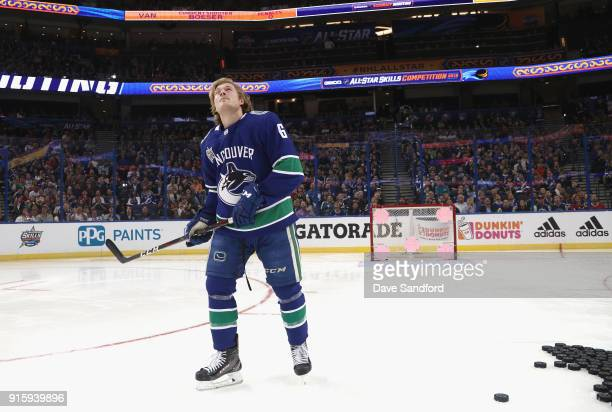 Brock Boeser of the Vancouver Canucks competes in the Honda NHL Accuracy Shooting during 2018 GEICO NHL AllStar Skills Competition at Amalie Arena on...