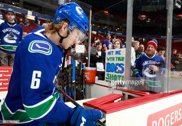 Brock Boeser of the Vancouver Canucks leaves the bench during warmup before their NHL game against the New York Islanders at Rogers Arena March 5...
