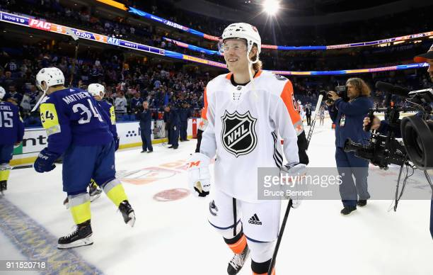 Brock Boeser of the Vancouver Canucks reacts after winning MVP during the 2018 Honda NHL AllStar Game between the Atlantic Division and the Pacific...