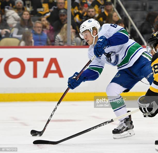 Brock Boeser of the Vancouver Canucks scores a goal past Matt Murray of the Pittsburgh Penguins in the first period during the game at PPG PAINTS...
