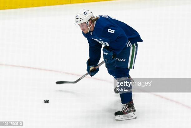 Brock Boeser of the Vancouver Canucks shoots the puck on the first day of the Vancouver Canucks NHL Training Camp on January 2021 at Rogers Arena in...
