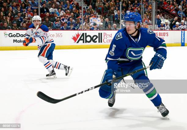Brock Boeser of the Vancouver Canucks skates up ice during their NHL game against the Edmonton Oilers at Rogers Arena April 8 2017 in Vancouver...