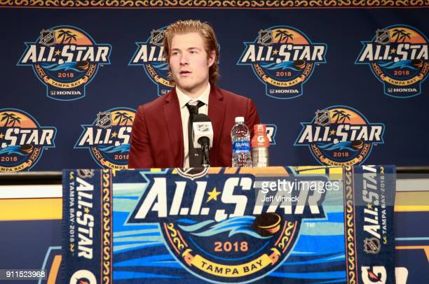 Brock Boeser of the Vancouver Canucks speaks during a post game press conference after the 2018 Honda NHL AllStar Game at Amalie Arena on January 28...