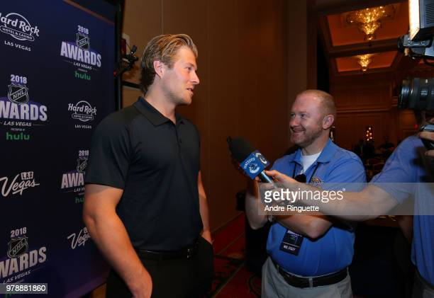 Brock Boeser of the Vancouver Canucks speaks during media availability at the Hard Rock Hotel Casino on June 19 2018 in Las Vegas Nevada