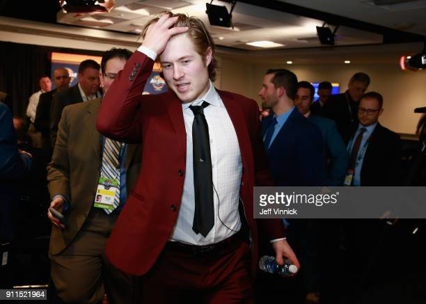 Brock Boeser of the Vancouver Canucks walks in the hallway after the 2018 Honda NHL AllStar Game at Amalie Arena on January 28 2018 in Tampa Florida
