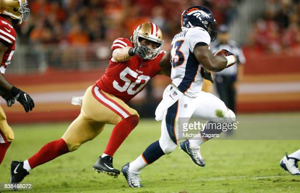 Brock Coyle of the San Francisco 49ers chases De'Angelo Henderson of the Denver Broncos during the game at Levi Stadium on August 19, 2017 in Santa...