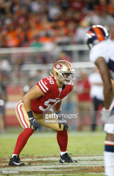 Brock Coyle of the San Francisco 49ers defends during the game against the Denver Broncos at Levi Stadium on August 19, 2017 in Santa Clara,...
