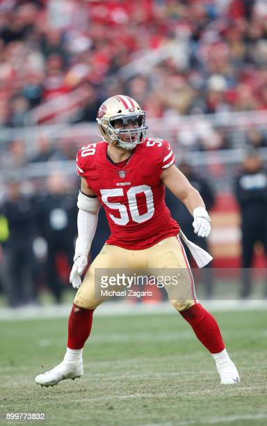Brock Coyle of the San Francisco 49ers defends during the game against the Jacksonville Jaguars at Levi's Stadium on December 24, 2017 in Santa...