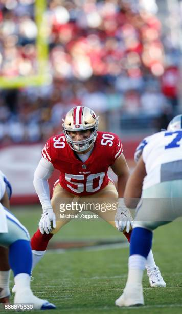 Brock Coyle of the San Francisco 49ers eyes the quarterback during the game against the Dallas Cowboys at Levi's Stadium on October 22, 2017 in Santa...