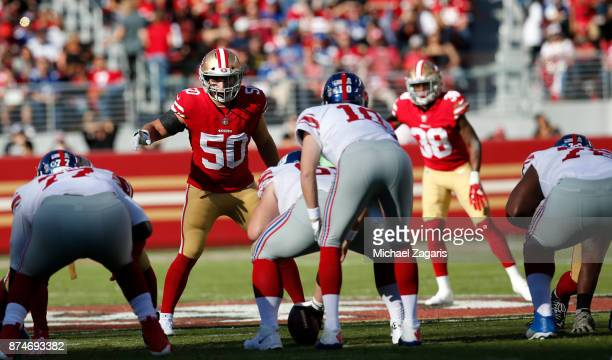 Brock Coyle of the San Francisco 49ers eyes the quarterback during the game against the New York Giants at Levi's Stadium on November 12, 2017 in...
