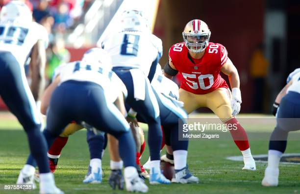 Brock Coyle of the San Francisco 49ers eyes the quarterback during the game against the Tennessee Titans at Levi's Stadium on December 17, 2017 in...