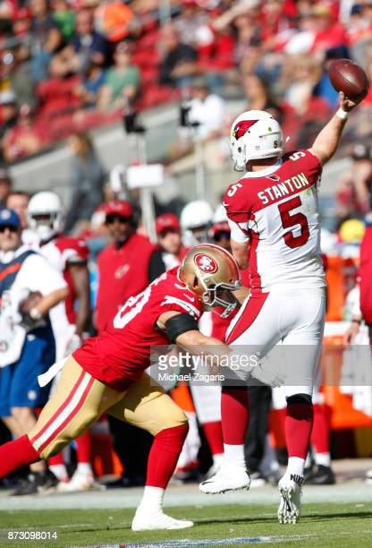 Brock Coyle of the San Francisco 49ers pressures Drew Stanton of the Arizona Cardinals during the game at Levi's Stadium on November 5, 2017 in Santa...