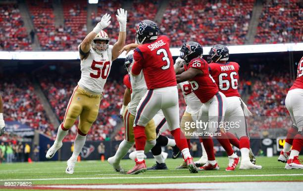 Brock Coyle of the San Francisco 49ers pressures Tom Savage of the Houston Texans during the game at NRG Stadium on December 10, 2017 in Houston,...