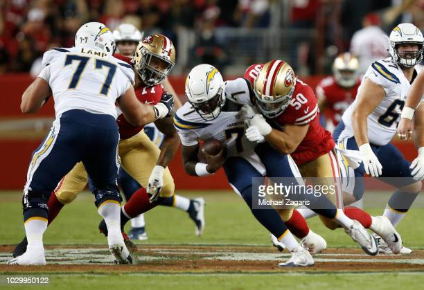 Brock Coyle of the San Francisco 49ers sacks Cardale Jones of the Los Angeles Chargers during the game at Levi Stadium on August 30, 2018 in Santa...