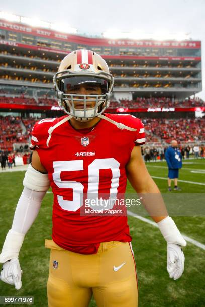 Brock Coyle of the San Francisco 49ers stands on the field prior to the game against the Jacksonville Jaguars at Levi's Stadium on December 24, 2017...