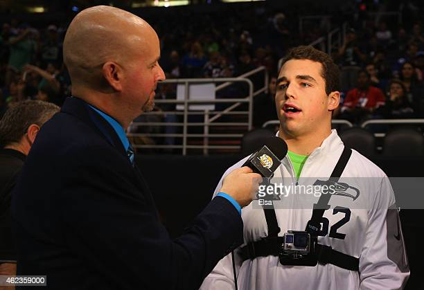 Brock Coyle of the Seattle Seahawks addresses the media at Super Bowl XLIX Media Day Fueled by Gatorade inside U.S. Airways Center on January 27,...
