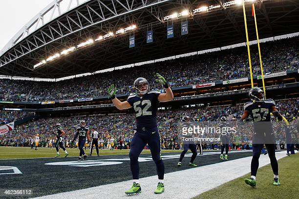 Brock Coyle of the Seattle Seahawks celebrates against the Green Bay Packers during the 2015 NFC Championship game at CenturyLink Field on January...