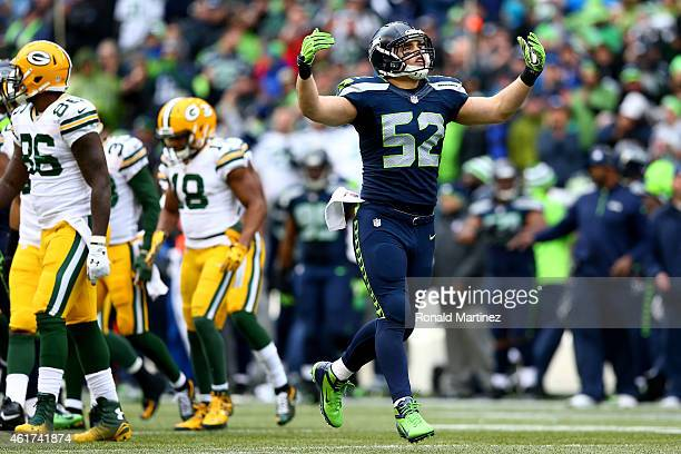 Brock Coyle of the Seattle Seahawks reacts while taking on the Green Bay Packers during the 2015 NFC Championship game at CenturyLink Field on...