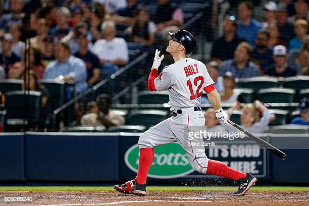 Brock Holt of the Boston Red Sox bats against the Atlanta Braves at Turner Field on April 25 2016 in Atlanta Georgia